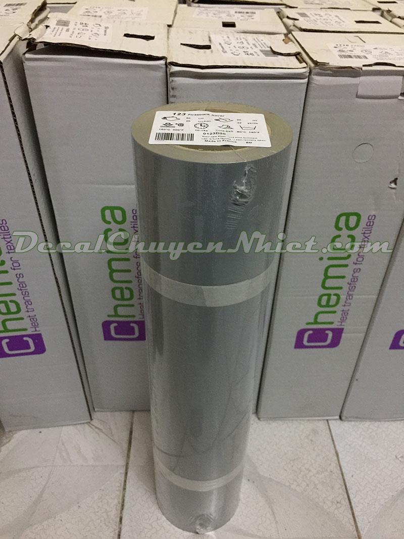 Decal chuyển nhiệt in áo PVC silver 123 của Pháp (nhũ bạc)