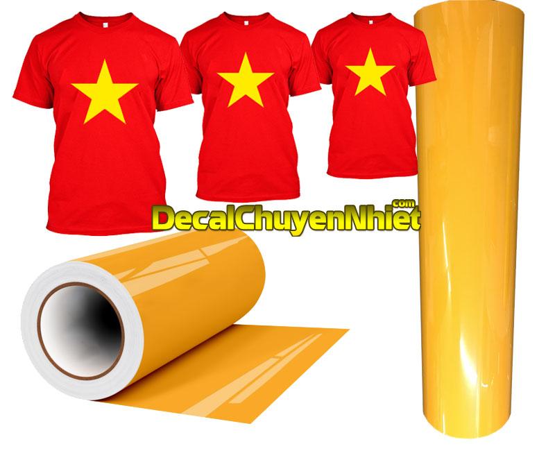 Decal chuyển nhiệt màu vàng in áo cờ Việt Nam giá rẻ